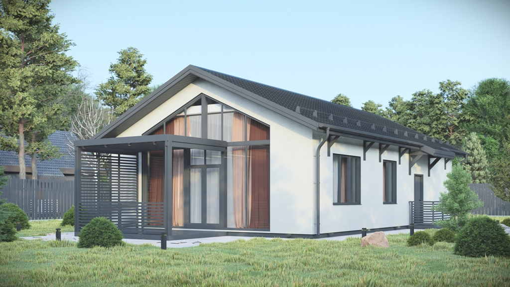 Одноэтажный дом 107 м с витражными окнами